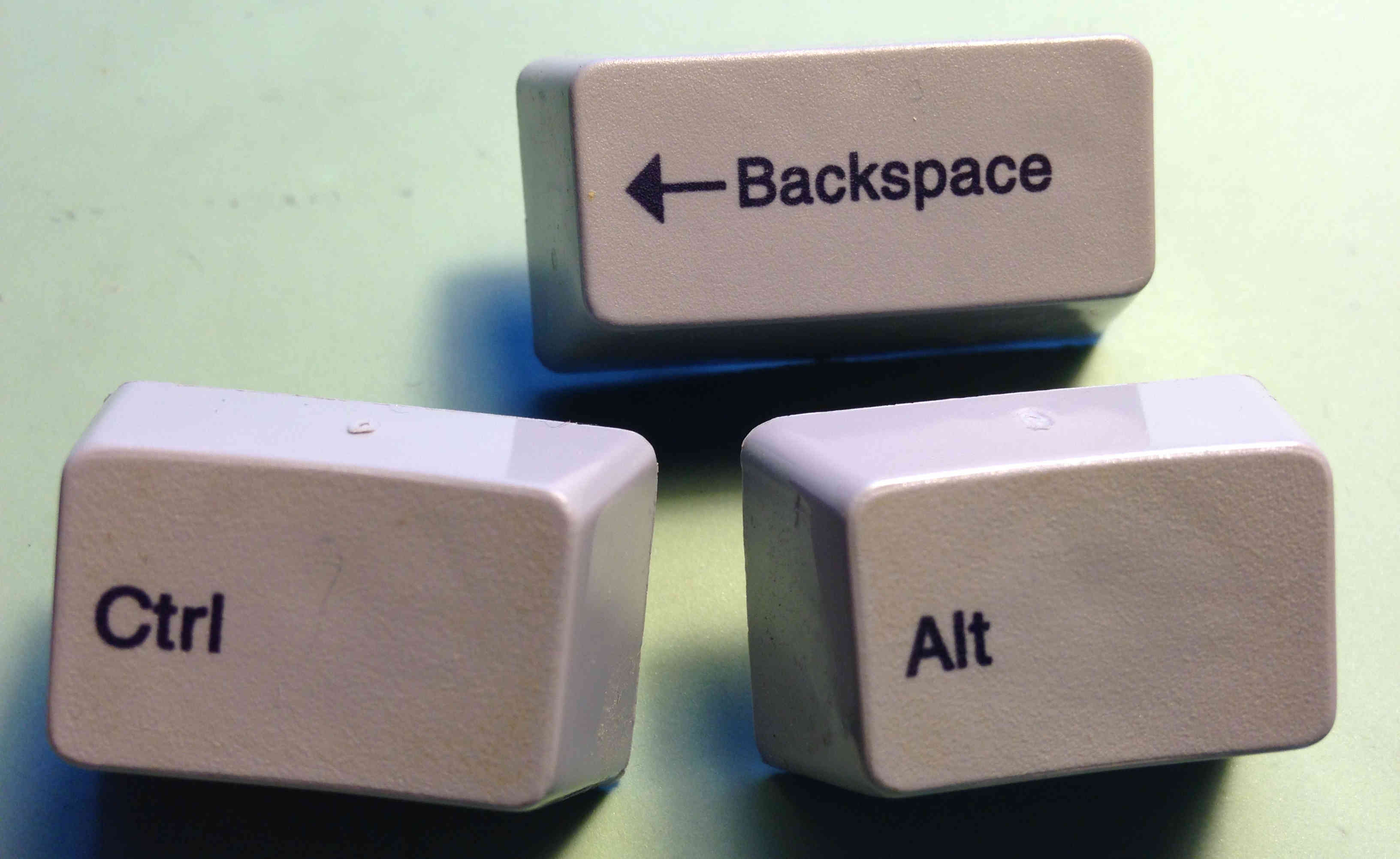 Keys arranged to spell out Control-Alt-Backspace.