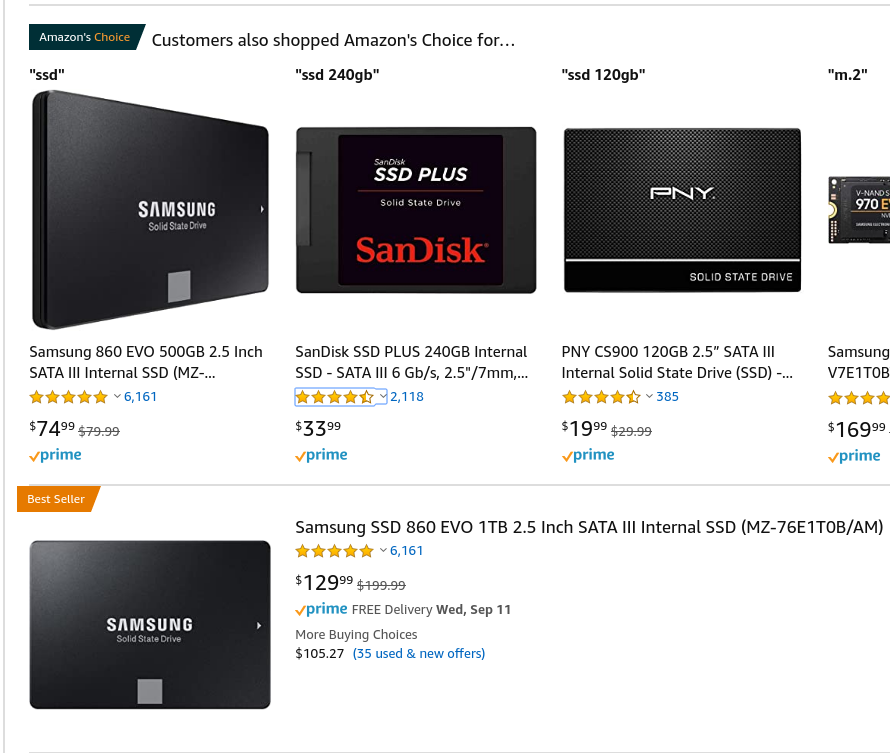 SSDs for sale on Amazon, 500GB, 240GB, 120GB, and 1TB, and associated prices, $74.99, $33.99, $19.99, and $129.99.